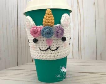 Caticorn Crochet Cup Cozy, Crochet Coffee Sleeve,