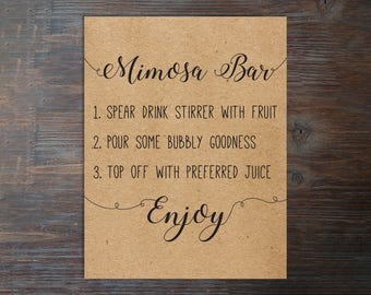 Printable Mimosa Bar Sign . Mimosa Bar Sign . Bridal Shower Mimosa Bar Sign . Instant Download Mimosa Bar Sign . Bubbly Bar Sign . Mimosa .