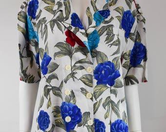 Vintage Blue Rose Print Blouse