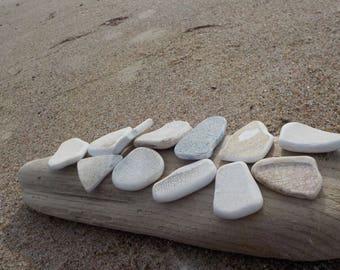 HQ Bulk 12 STREAKED Cream  White Sea Pottery - Beach Pottery Shards - Perfectly Smoothed Sea Pottery #52