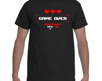 Video Gamer Shirt Retro Game Over Minimalist Funny Vintage T-Shirt