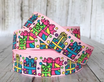"7/8""  Presents Birthday Party Girls Baby Pink Grosgrain Hairbow Ribbon - Sold by 5 yards"