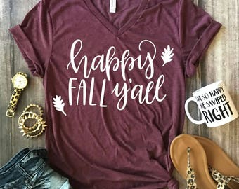 Fall women tshirt/ fall apparel/ fall tshirt/ pumpkin spice shirt/ pumpkin spice/ happy fall