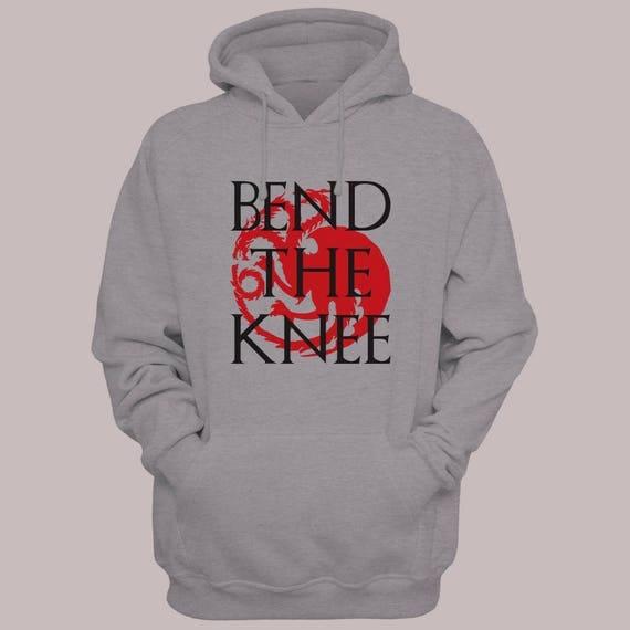 """Game of Thrones """"Bend The Knee"""" Hoodie Sweater S-XL Hooded Pullover Khaleesi Targaryen"""