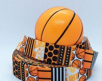 "7/8"" Basketball - Sports Ribbon - Printed Grosgrain Ribbon"