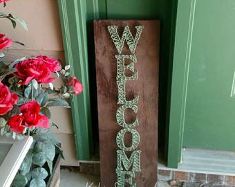 Welcome string art, handmade welcome sign, welcome sign, welcome sign string art, front door welcome sign, patio welcome sign,valentine gift