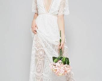 White lace Maxi 60s Inspired Crochet Side Slit Deep V Wedding Dress Blush Wedding Dress Bridesmaid Maxi Dress Blue, Pink, Burgundy