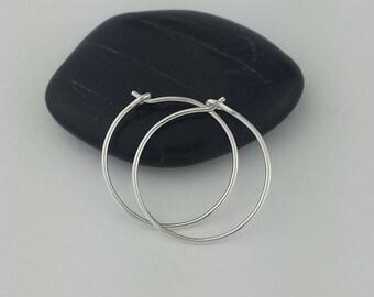 Small Silver Hoop Earrings, Sterling Silver Hoop Earrings, Argentium Sterling Silver, Hoop Earrings, Hammered Earrings, Round Hoops