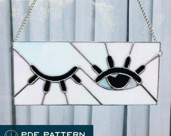 """Lovely Lashes • 9.75"""" x 5.5""""Stained Glass Pattern PDF •Instant Download"""