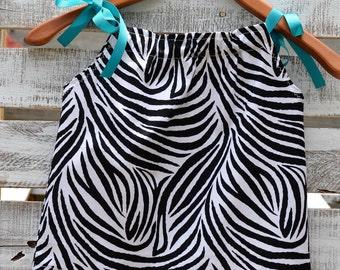 Pillow case dress/ Zebra print/ Blue with Flowers/ Birds/ 9-12 months/ 12 month/ Summer Dress