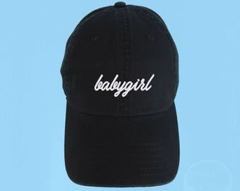 BABYGIRL Dad Hat Embroidered Baseball Black Cap Low Profile Custom Strap Back Unisex Adjustable Cotton Baseball Hat