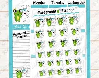 Jelly Bean & Lillypad --- BFF Hand drawn Planner stickers --- 207