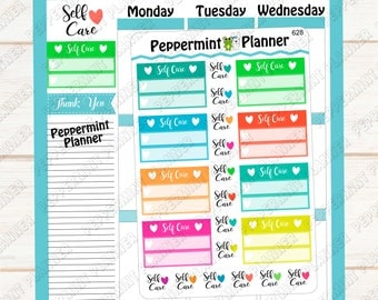 Self Care Planner Stickers --- Reminder --- Tracker --- 628