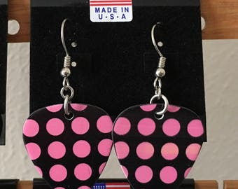 Pink Polka Dot Guitar Pick Earrings on Surgical Steel fish hook style ear wires.