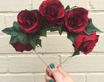 Red Rose Flower Crown, Red Rose Band, Dark Red Rose, Wedding Crown, Bride Headband, Red Hair, Rose Flower Crown, Rock n Roll Wedding