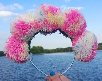 Pink Pom Poms, Pom Pom Headband, Pink Headband, Festival Crown, Statement Crown, Pink & White, Rainbow Pom Poms, Drag Queen, Glastonbury