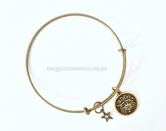 Imaginative Cancer Zodiac Bronze Adjustable Bangle Charm Bracelet Double Sided Astrology Charm Star Signs Handmade Jewelry Free Shipping