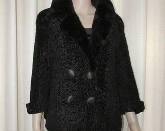 Vtg jolie veste de fourrure d'astrakan noir/collet de castor rasé noir/vtg black astrakan fur coat vest fur/ black sheared beaver collar