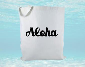 Aloha Tote Canvas Tote Bag, Hawaii Canvas Tote Bag, Hawaii Bag, Beach Bag, Hawaii Gift Bag, Bridal Gift, Welcome Bag, Women's Bag
