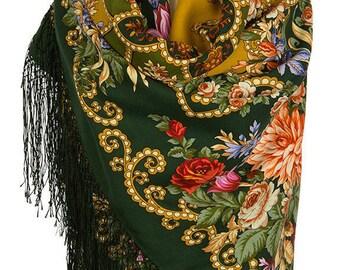 "Gypsy Aza-10, 20, 23, 18, 25 Super price! Only three days! Russian Shawl Pavlovo-Posad Vintage Style/ 100% wool 148x148 cm/58""x58""/Gypsy Aza"