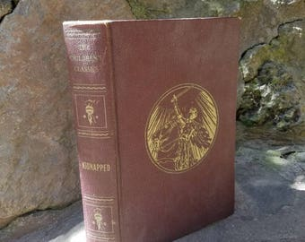 1925 Kidnapped- Robert Louis Stevenson- 1920's Vintage Books- Color Illustrated/Hardcover- Classic Books- Children's Classics- Brown/Gold