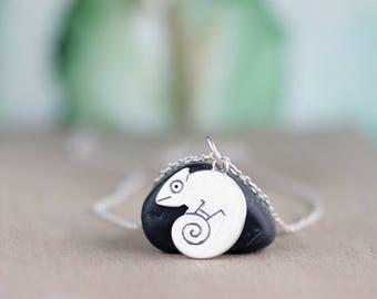 Chameleon necklace - Chameleon jewelry - Chameleon charm necklace - Chameleon pendant - Sterling Silver Chameleon