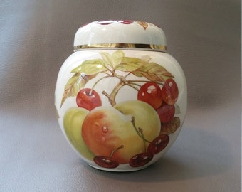 A Mason's Patent Ironstone  Ginger Jar, decorated in an unusual Peaches and Cherry design