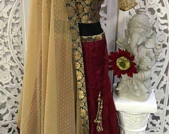 3pc full Flare Banarasi Silk Croptop Set