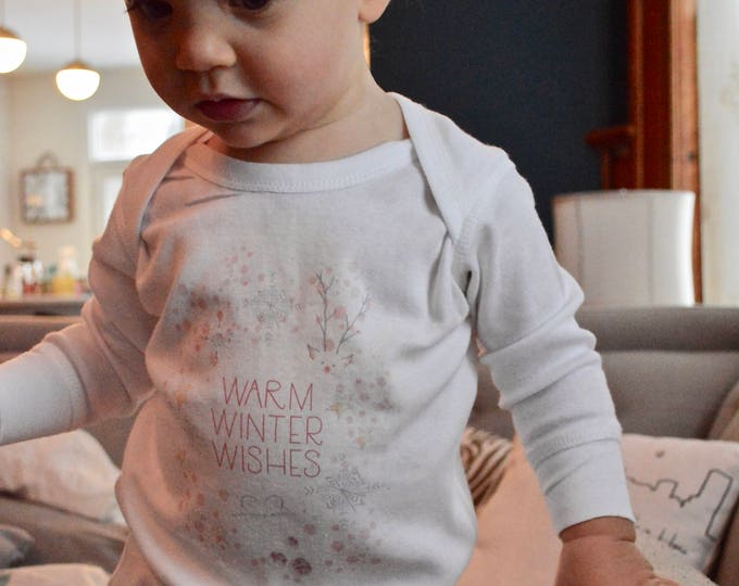 Warm Winter Wishes /// Watercolor /// Baby long sleeve Romper