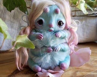 precious bab caterpillar girl- blue caterpillar doll, art doll, ooak bug girl doll, strange doll, fairy doll, fae