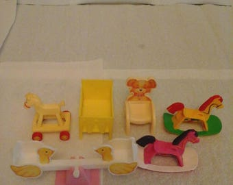 Vintage Dollhouse Baby Furniture And See Saw
