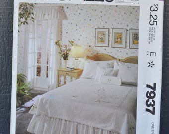 McCalls, Sewing, Pattern, 7937, Vintage, 1982, Bed Cover, Bedroom Set, Farmhouse,Cottage,Chic, Country, Uncut,