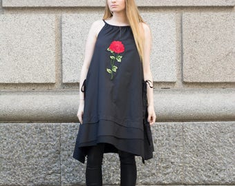 Rose Detail Black Dress | Mini Black Tunic | Rose Embroidery | Handmade Extravagant Dress by Silvia Monetti