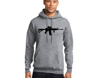 AR-15 Pullover Hooded Sweatshirt Armalite Rifle AR15 Hoodie