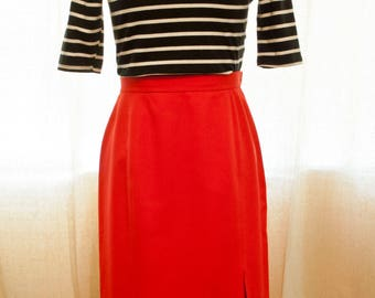 High Waisted Red Midi Skirt - Vintage High Waisted Pencil Skirt - Retro Pinup Style High Waist Midi with Front Slit and Side Zip