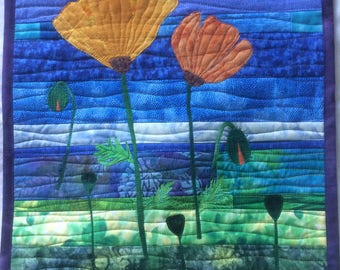 Art Quilt Two Poppies, Quilted Wall Hanging Landscape, Quilted Wall Art Flowers, Colorful Fiber Art Blue Green Orange, Home Decor