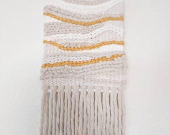 Neutral & Yellow Woven Wall Hanging | Cream and Mustard Wall Decor | Natural Colored Woven Wall Hanging | Yellow and White Wall Hanging