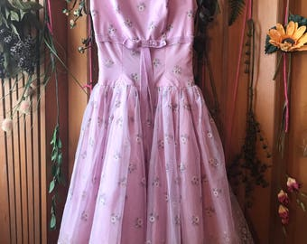 1950's 50's Small Size Formal Prom Vintage Retro Dress