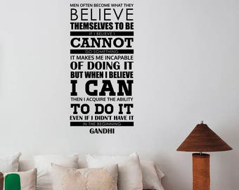 Mahatma Gandhi Quote Wall Sticker Vinyl Lettering Motivational Believe Saying Decal Art Decorations Home Bedroom Inspirational Decor gq4