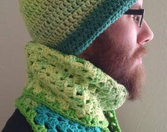 "Crochet ""Green Pea"" Scarf & Hat set"