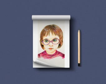 custom portrait, custom crayon portrait, gift for him and her, drawing out of Commission, portrait from photo, picture