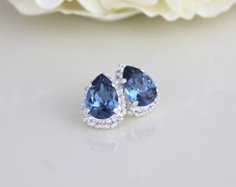 Navy blue earrings, Crystal Bridal earrings, Bridal jewelry, Teardrop earrings, Stud earrings, Swarovski crystal, Bridesmaid earrings