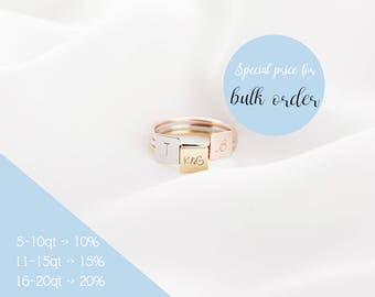 square Initial Ring, personalized ring, letter ring, customized initial ring, Gift for Mom, Bridesmaid Giftisc Ring, Dai