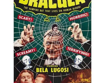 Dracula Movie Poster Art - Vintage Bela Lugosi Print Art - Home Decor - Vampire Horror Movie Theater Poster