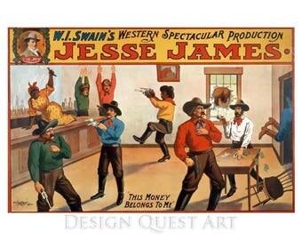 Jesse James Poster Art - Western Outlaw Art - Vintage Print Art - Home Decor