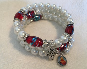 Handcrafted Rosary Wrap Bracelets, 5 decades, Glass Pearl Beads, Wood Beads