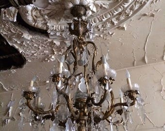 Antique Brass Chandelier from New York City Mansion