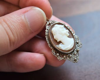 Antique Victorian European Silver Filigree Shell Cameo Pendant