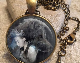 Sansa House of Stark Dire Wolves Game of Thrones Glass Dome Round Cabochon Necklace Pendant Gift UK