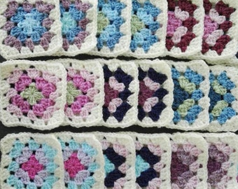 50 Crochet Squares 'Frozen' colours Handmade